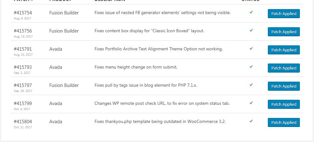 아바다 테마 최신 패치 - PHP 7.1에서 블로그 엘리먼트 문제 포함
