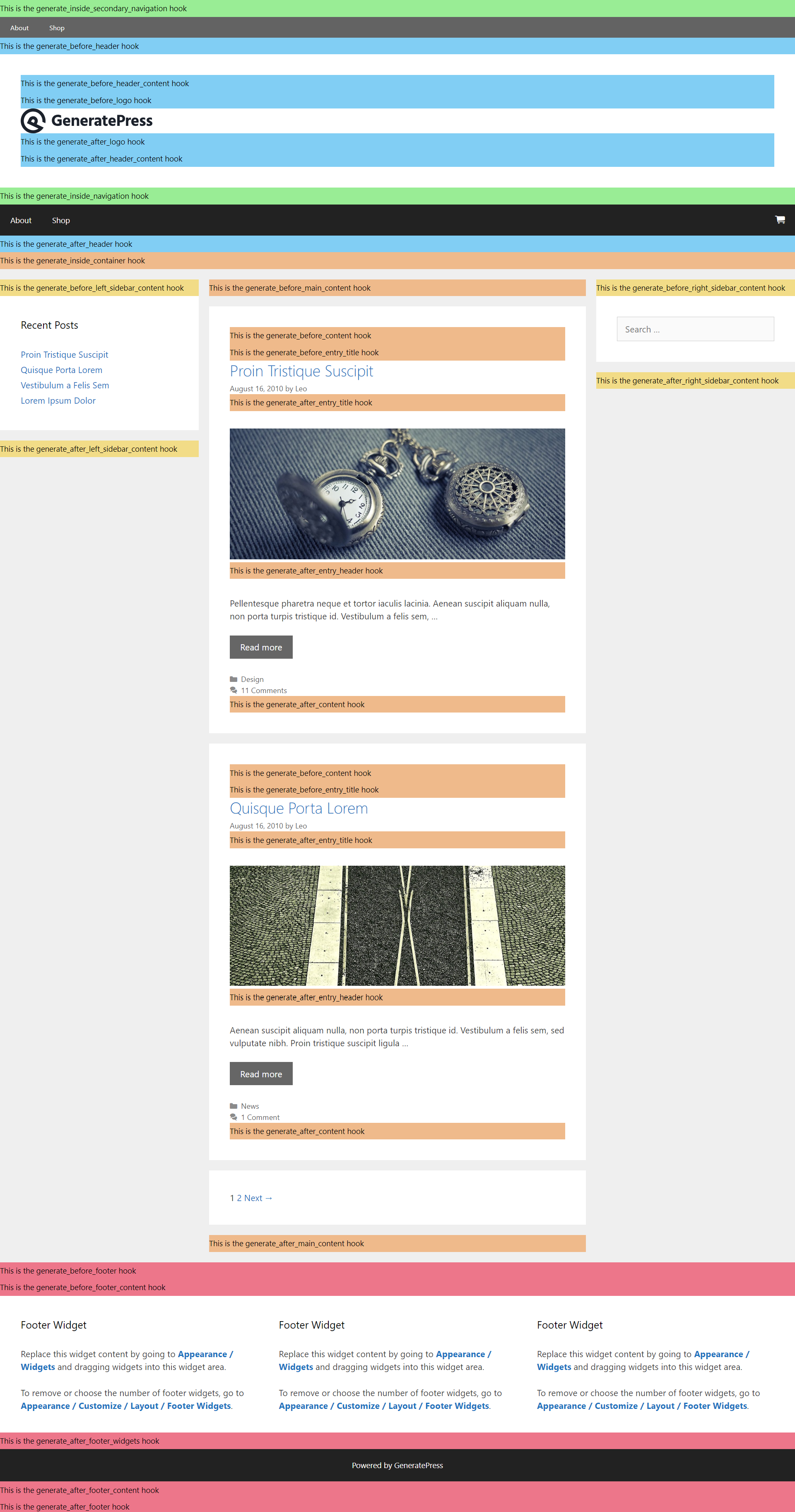 ワードプレスGeneratePressテーマで提供されるアクションとフィルタ
